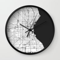 milwaukee Wall Clocks featuring Milwaukee Map Gray by City Art Posters