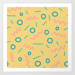 Corky - Yellow + pink Art Print