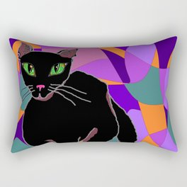 Black Cat, Carmen, with Stained Window, Jewel Tones Rectangular Pillow