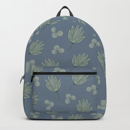 Eucalyptus and Green Succulent Bloom Pattern With Blue Backpack