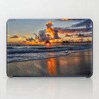 calendars iPad Cases featuring Sunset HB Pier  (10-28-13) by John Minar Fine Art Photography