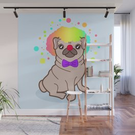 Pug dog in a clown costume Wall Mural