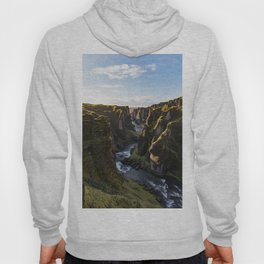Lush Green Canyon River Bathed In Sunlight Hoody