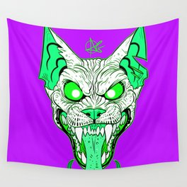 GREEN Demon Sphynx Cat Wall Tapestry