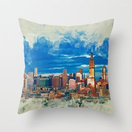 Chicago at dusk - Mixed Media Throw Pillow