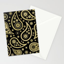 Paisley Funky Design Black and Gold Stationery Cards