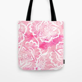 Modern boho pink watercolor white floral mandala  pattern Tote Bag