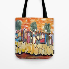 African Village Market Square Tote Bag