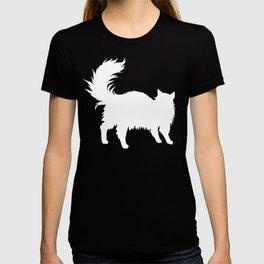 long haired cat silhouette, cat fan T-shirt