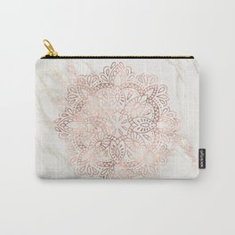 Rose Gold Mandala Marble Carry-All Pouch