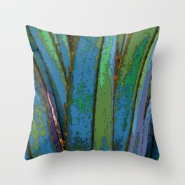 Blue Abstract Screw Pine Throw Pillow