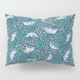 Paper boats with willow branches and dasies on dark background Pillow Sham