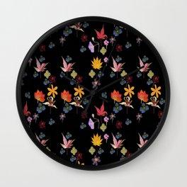 Dark Floral Garden Wall Clock