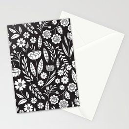 Blooming Field - black Stationery Cards