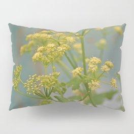 Yellow wildflowers on blue rusty metal Pillow Sham