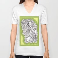 zentangle V-neck T-shirts featuring Zentangle Halcyon by Vermont Greetings