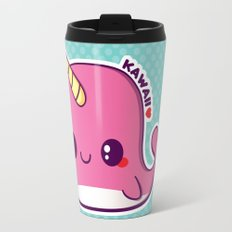 Kawaii Pink Narwhal Travel Mug