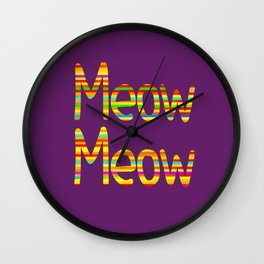 Meow Meow (in color) Wall Clock