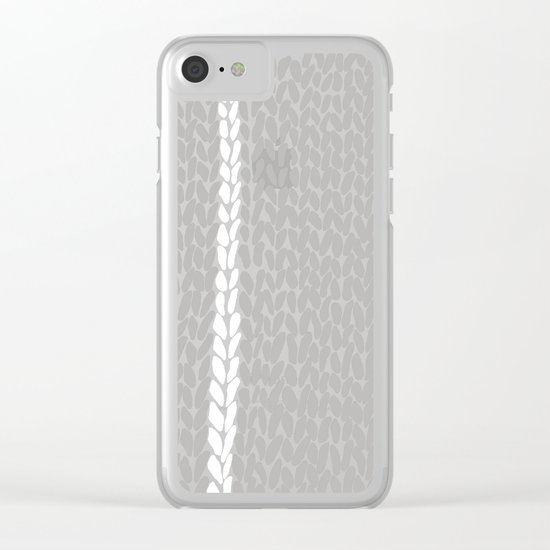 Grey Knit With White Stripe Clear iPhone Case