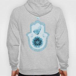 Butterfly Lotus Blue Hamsa Hand Hoody