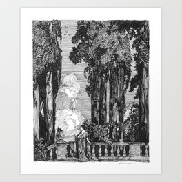 "Vintage Illustration - ""Garden Grotto"" Art Print"