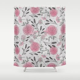 Soft and Sketchy Peonies Shower Curtain