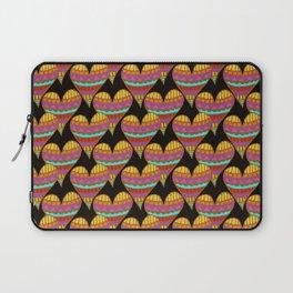 Rainbow Hearts on Black Laptop Sleeve
