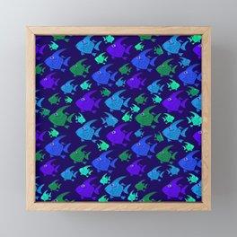 Cartoon Fish In Blues And Greens. Framed Mini Art Print