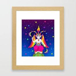 1997 Neon Rainbow Baphomet Framed Art Print