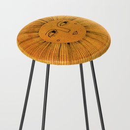 Sun Drawing Gold and Pink Counter Stool