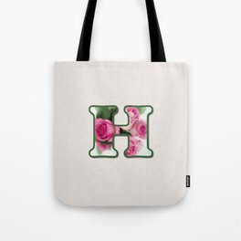 Letter H Rose Monogram Tote Bag