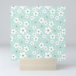 White and Mint Green Spring Flower Garden Mini Art Print