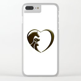 Horse, Dog, Cat Animal Lover Clear iPhone Case
