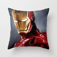 ironman Throw Pillows featuring IronMan by San Fernandez