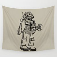 robot Wall Tapestries featuring Robot. by Scott Mckenzie-Lee