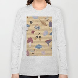 Geometrical brown blue autumn leaves mushroom stripes pattern Long Sleeve T-shirt