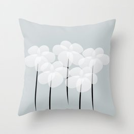 Abstract Sheer White Anemones Throw Pillow