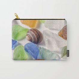 Tiny sea shell and Beach Glass Carry-All Pouch