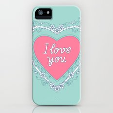 pink heart with love iPhone SE Slim Case