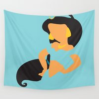 jasmine Wall Tapestries featuring Jasmine - Aladdin by Adrian Mentus