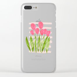 Floral: pink tulps, green leaves and pink nude stripes Clear iPhone Case
