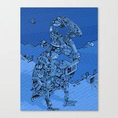 Blue Bird Machine City Canvas Print