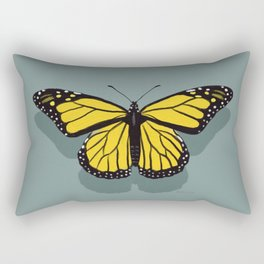 Hand-painted Monarch Butterflies, Oil Painting in Yellow and Grey, Paint Textured Butterfly Pattern  Rectangular Pillow