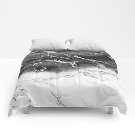 Modern black and white marble ombre watercolor color block Comforters