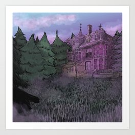 Misty Mansion Art Print