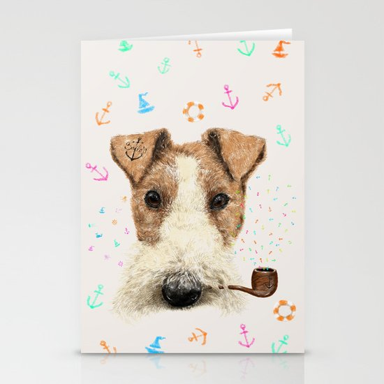 fox terrier sailor Stationery Cards