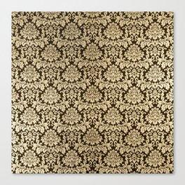 Elegant brown faux gold vintage floral damask Canvas Print