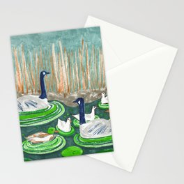 Water Friends drawing by Amanda Laurel Atkins Stationery Cards