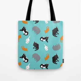 Kitty Cat Illustrated Repeat Pattern Illustration Tote Bag