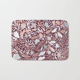 Rose Gold Burgundy Floral Illustration Pattern Bath Mat